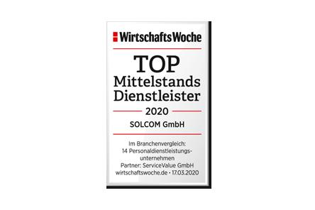 SOLCOM ist Wirtschaftswoche-Top-Mittelstandsdienstleister..